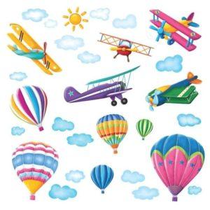 Adhesivos de globos aerostáticos y avionetas