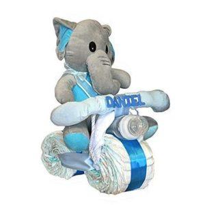 Moto de pañales con elefante