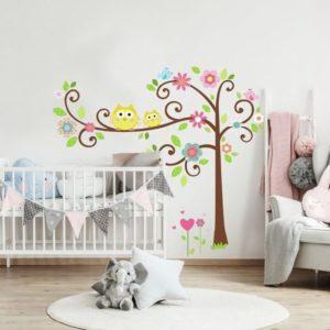 Pegatinas de pared de árbol con flores